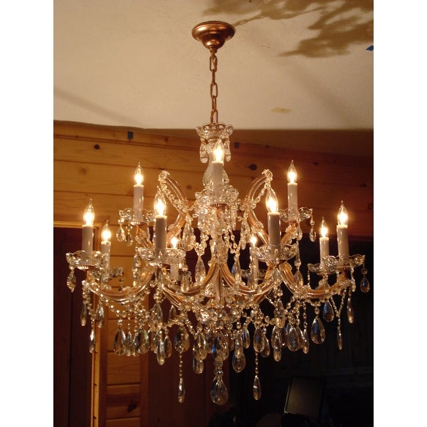 Gallery maria theresa 13 light 2 tier antique french gold crystal gallery maria theresa 13 light 2 tier antique french gold crystal chandelier free shipping today overstock 13421403 aloadofball Gallery