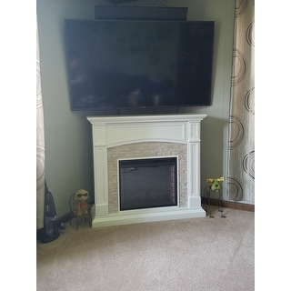 Copper Grove Helliwell White Faux Stone Electric Media Fireplace - N/A