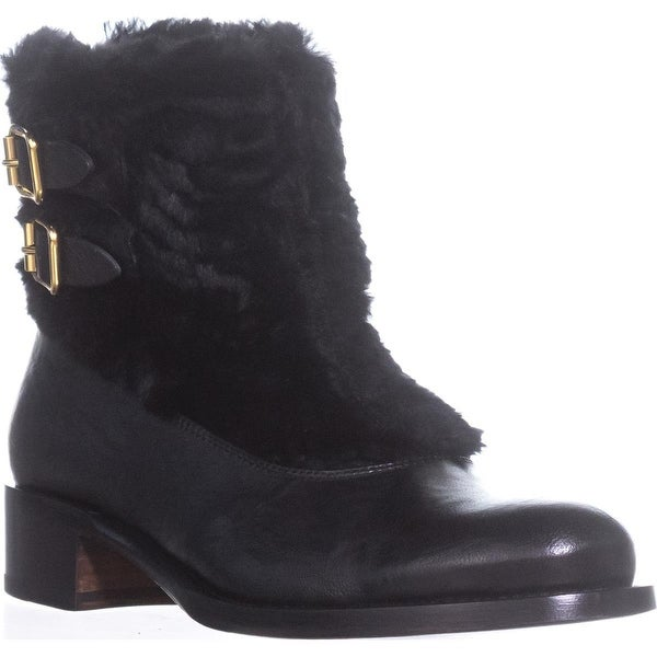 Rupert Sanderson Highland Double Buckle Ankle Boots, Nero