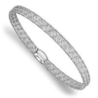 Italian 14k White Gold Fancy Stretch Bangle Bracelet