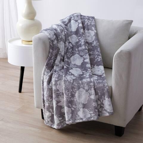 Tahari Home Hanks Grey Floral Printed Plush Throw