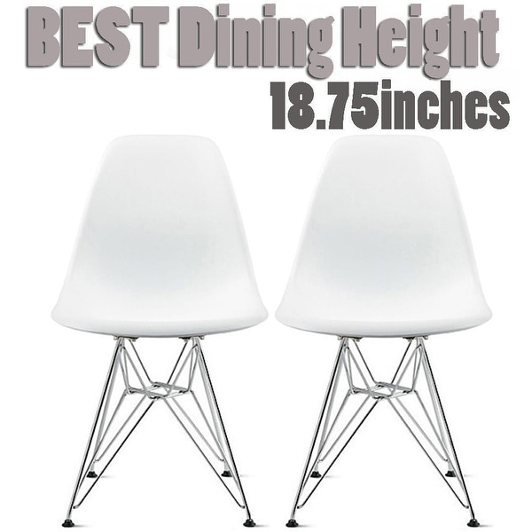 Beau 2xhome Set Of 2 White Molded Shell Designer Side Plastic Eiffel Chairs  Chrome Metal Dining Room