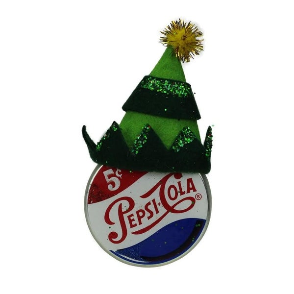 """4.75"""" Green Jester Hat on Pepsi Logo Puck Shaped Decorative Glass Christmas Ornament"""