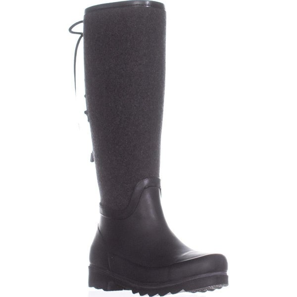 Nine West Oops Lace Up Rain Boots, Dark Grey Multi - 6 us
