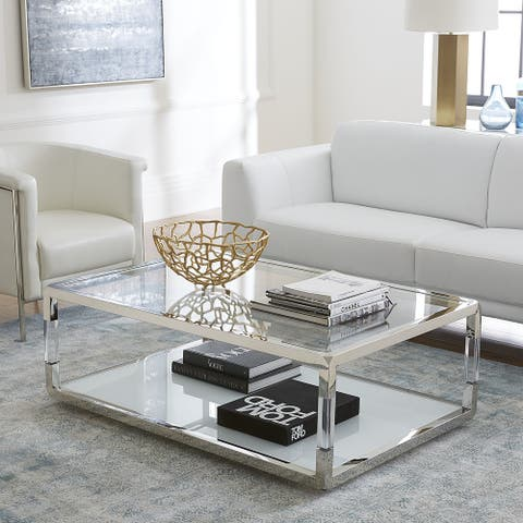 Jasper Coffee Table in Acrylic, White Glass and Polished Stainless Steel