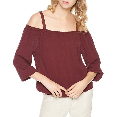 Sanctuary Womens Tori Halter Top Off-The-Shoulder 3/4 Sleeves