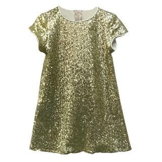 Little Girls Gold Sparkle Sequin Katy Short Sleeve Shift Party Dress 2-6