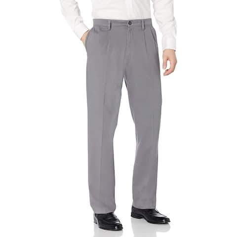 Dockers Mens Pants Gray Size 40X30 Khaki Classic Fit Pleated Stretch