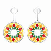 Vedantti Madhubani Art Floral Folk Multi Color Enamel Drop Earring