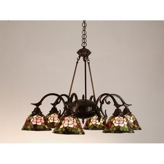 Meyda Tiffany 27399 Stained Glass / Tiffany 6 Light Down Lighting Chandelier from the Fixtures Collection