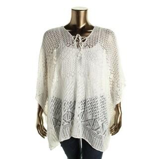 Lauren Ralph Lauren Womens Linen Crochet Poncho Sweater - o/s