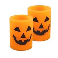 """Set of 2 Orange and Black Jack O' Lantern LED Wax Candles 4"""""""