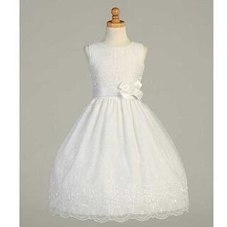 White Embroidered Organza First Communion Dress Girls 6-12.5