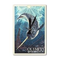 Olympia, WA - Narwhal Letterpress - LP Artwork (Acrylic Wall Clock) - acrylic wall clock