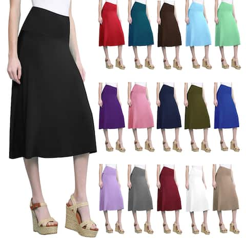 Women's Solid Lightweight Flare Mid Pull On Skirt