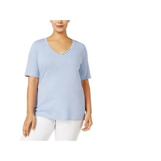 Karen Scott Womens Plus T-Shirt Cotton Heathered (3 options available)