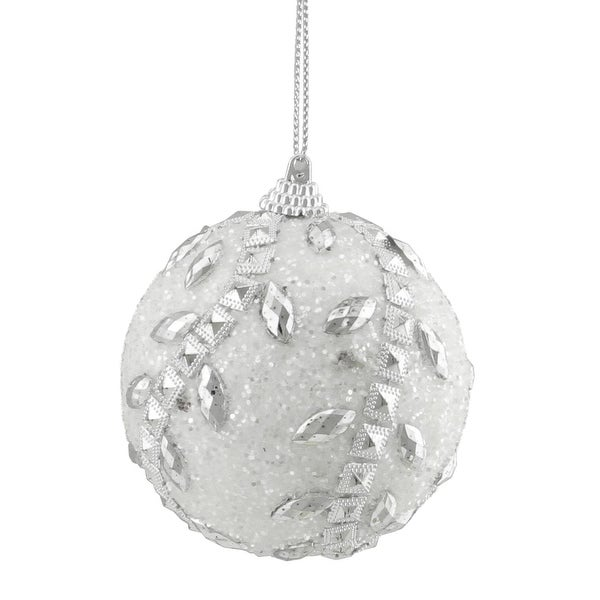 """Set of 3 White and Silver Beaded Embellished Shatterproof Christmas Ball Ornaments 3"""""""