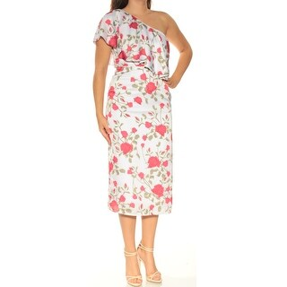 Womens White Floral Midi Sheath Dress Size: 4