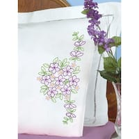 Stamped Pillowcases W/White Perle Edge 2/Pkg-Floral Bouquet - White