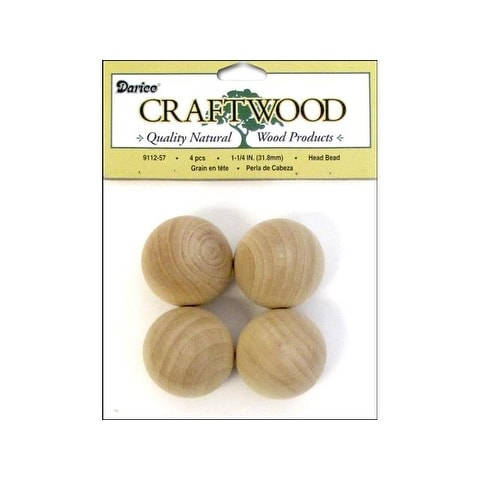 "Darice Craftwood Wood Head Bead Round 1.25"" 4pc"