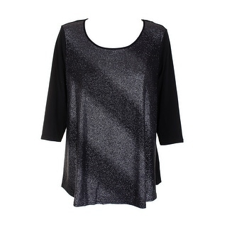 Ny Collection Plus Size Silver Black Ombre-Glitter Swing Top 1X