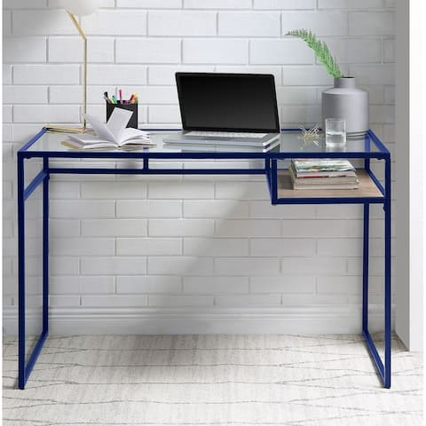 TiramisuBest Desk, Blue & Glass 92586