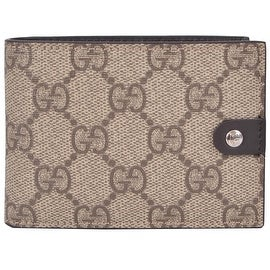 New Gucci Men's 281968 Taupe Supreme Canvas GG Guccissima Mini Bifold Wallet