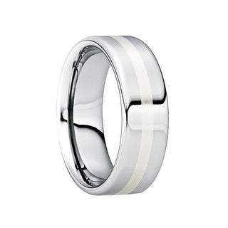 CASSIAN Tungsten Carbide Wedding Ring with 18K White Gold Inlay & Polished Finish by Crown Ring