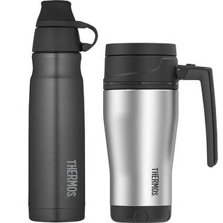 Thermos 18oz. Sport Bottle with 16oz. Double Wall Travel Mug (Stainless Steel)