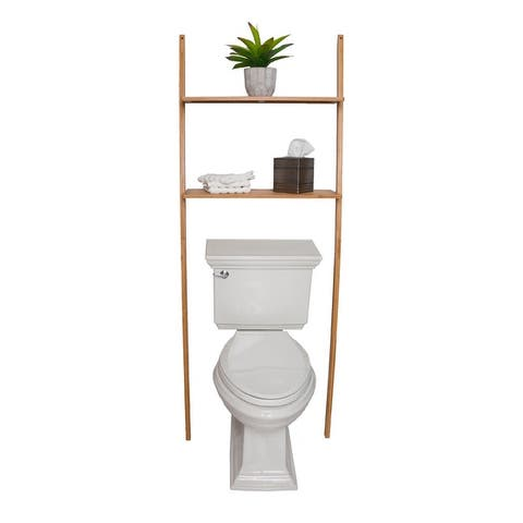 Offex Bamboo 2 Tier shelf with Natual Bamboo Finish