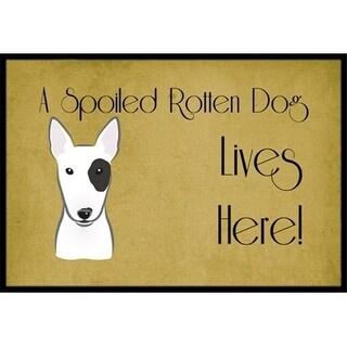 Carolines Treasures BB1457MAT Bull Terrier Spoiled Dog Lives Here Indoor & Outdoor Mat 18 x 27 in.