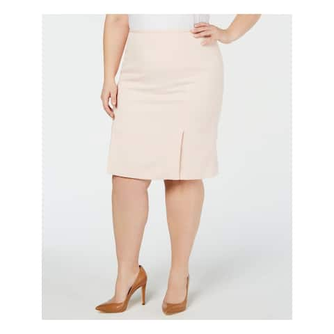CALVIN KLEIN Womens Pink Below The Knee Wear To Work Skirt Size 24W