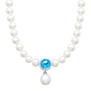 3 3/4 ct Topaz and 1/6 ct Diamond Freshwater Pearl Drop Necklace in Sterling Silver