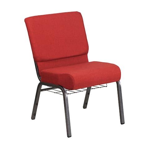 Offex 21''W Church Chair in Crimson Fabric w/ Rack - Silver Vein Frame