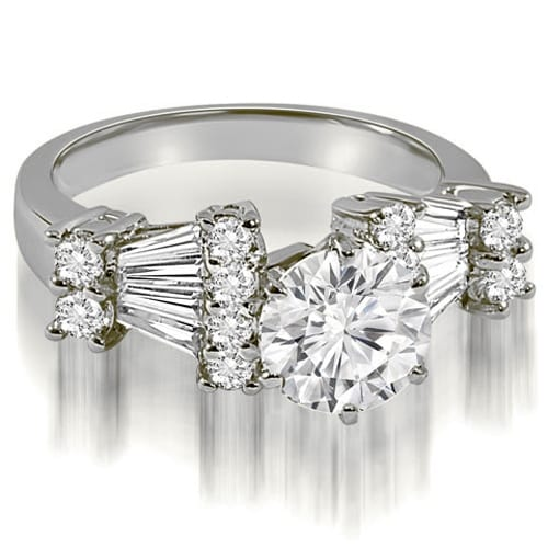 2.70 cttw. 14K White Gold Round and Baguette Diamond Engagement Ring