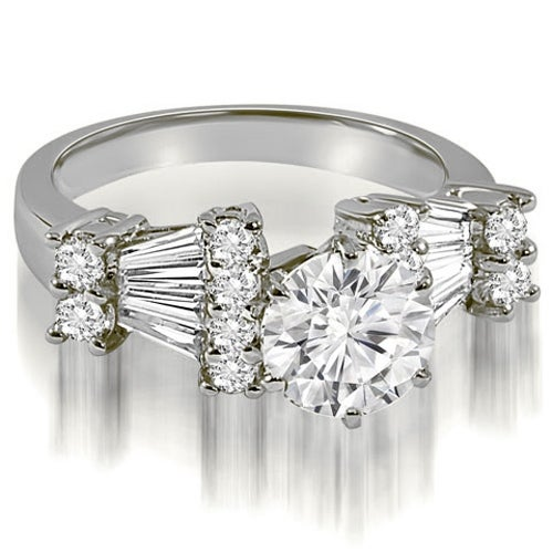 3.20 cttw. 14K White Gold Round and Baguette Diamond Engagement Ring