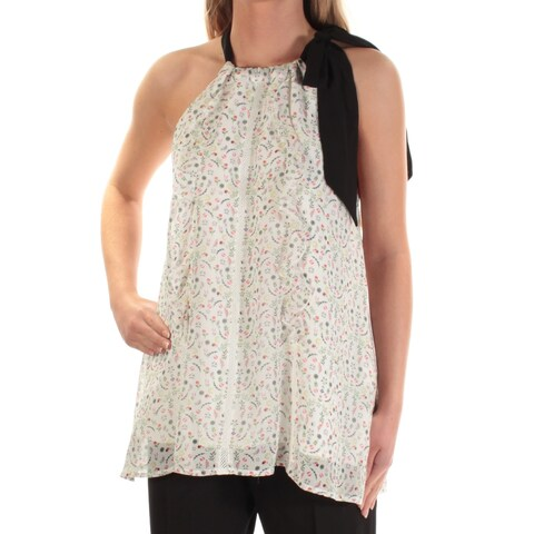 CYNTHIA ROWLEY Womens Ivory Floral Sleeveless Jewel Neck Top Size: XS