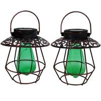 Sunnydaze Copper Solar LED Lantern with Vintage Style Bulb - Set of 2 - Green