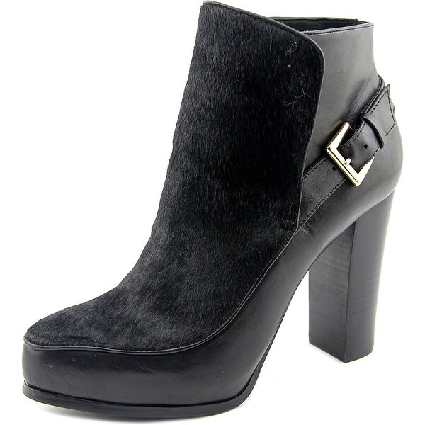 Nicole Miller Flora Women Pointed Toe Leather Black Ankle Boot