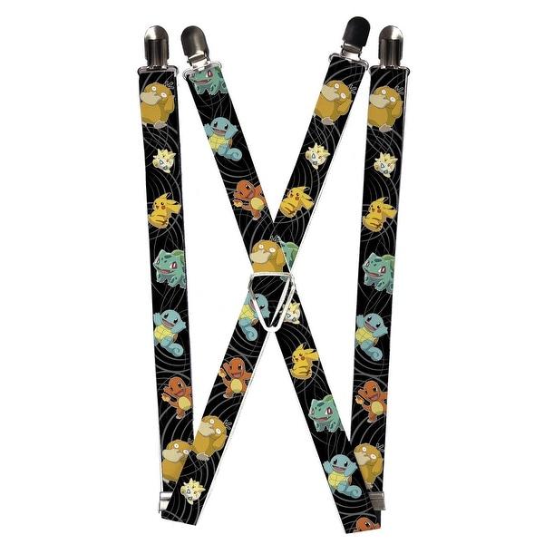 Buckle Down Men's Elastic Pokemon and Friends Print Clip-End Suspenders