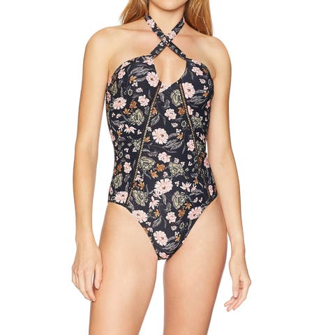 O'Neill Black Womens Size XL Colleen Floral One-Piece Swimsuit