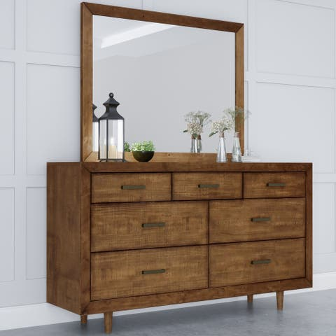 Abbyson Retro Mid-century Wood 7-drawer Dresser and Mirror