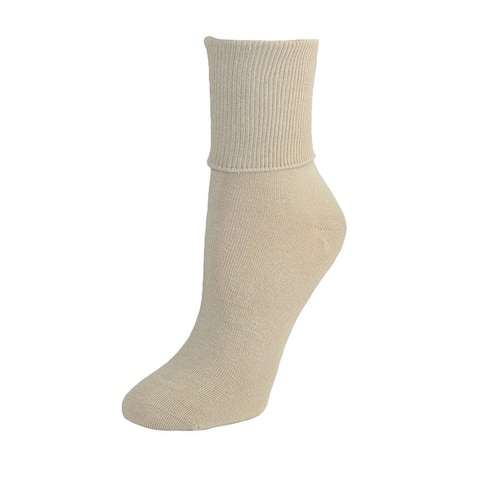 Jefferies Socks Women's Organic Cotton Turn Cuff Sock (Pack of 3)