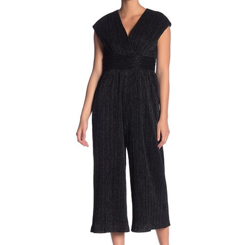 Maggy London Black Womens Size 10 Shimmer Pleated Cropped Jumpsuit