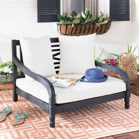 "SAFAVIEH Outdoor Living Pomona Dark Slate Grey/ Beige Lounger - 35.4"" x 35.4"" x 25.6"""
