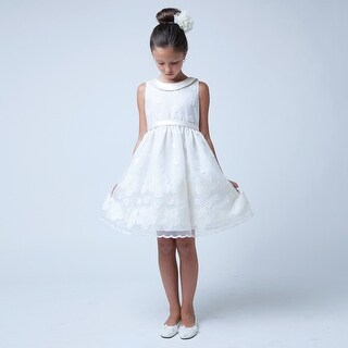 Sweet Kids Girls Ivory Flower Embroidered Organza Easter Dress 7-12