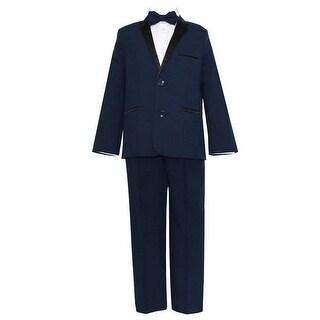 Big Boys Navy Black 4 Pcs Shirt Bow Pants Jacket Slim Fit Tuxedo (2 options available)