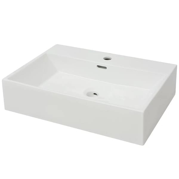 "vidaXL Basin with Faucet Hole Ceramic White 23.8""x16.7""x5.7"""