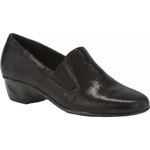 Walking Cradles Women's Teri Loafer Black Lizard Patent Print Leather