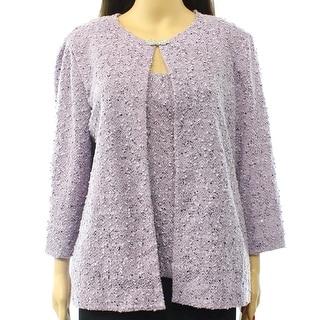 Alex Evenings NEW Purple Women Size Medium M Textured Twinset Sweater
